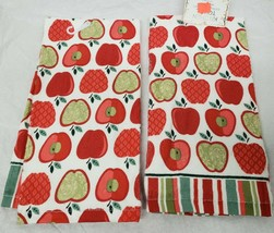 "2 SAME PRINTED TERRY TOWELS (15"" x 25"") RAWS OF APPLES by AM - $11.87"