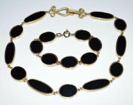 VTG Gold Tone Black Lucite Disk Disc Choker Necklace Bracelet Set - $39.60