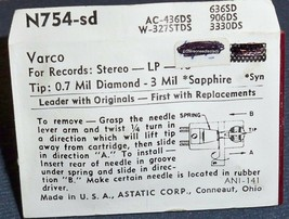 PHONOGRAPH NEEDLE Astatic N754 for VARCO Vaco LPS Varco 862-DS73 TN2H Varco TN20 image 2