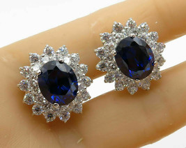 925 Sterling Silver - Faceted Blue & White Sapphire Clip On Earrings - E... - $50.32