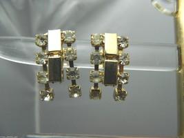 VTG Gold Tone 1940's Art Deco Clear Rhinestone Dangle Screwback Earrings - $10.69
