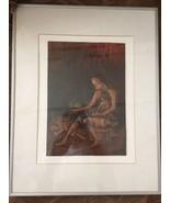 African Painting Vintage Framed Child Mother Stirring Copper Art - $58.05