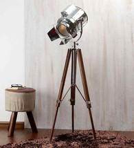 NauticalMart Flap Searchlight Nickel Tripod Spotlight Floor Lamp Marine Gift - $199.00