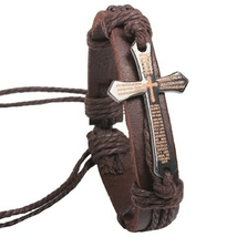 Brown / Gold Leather Cross Bracelet - $20.00