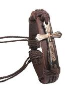 Faux leather scripture cross bracelet brown thumbtall