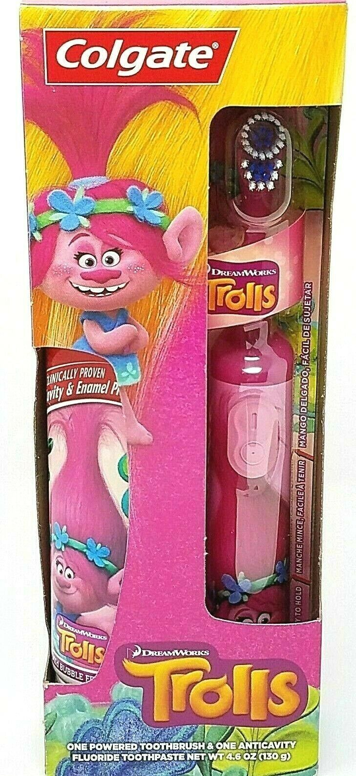 Trolls Colgate Electric Toothbrush + Anti-cavity Fluoride Toothpaste Pink Poppy