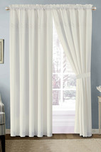 4-Pc Heart Diamond Spade Clover Floral Embroidery Curtain Set Off-White Sheer - $40.89