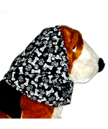 Dog Snood Black Grey White Paws & Bones Cotton by Howlin Hounds Size Large - $12.50