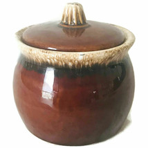 Hull USA Pottery Bean/Grease Pot w Lid Brown Drip Glaze 3 1/2″ Ovenproof... - $24.47