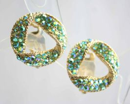 Elegant 11 W 30th St Mid Century Modern Rhinestone Gold-tone Clip Earrings   - $14.95