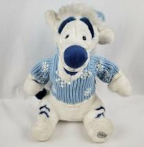 "Disney Store Winnie the Pooh Tigger 17"" Plush White Tiger Blue Sweater Hat - $18.39"
