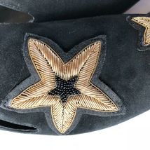 Michael Kors Femmes Chaussures Noir en Cuir Caoutchouc Semelle Broderie Size 6.5 image 5