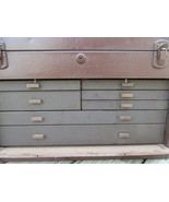 VINTAGE KENNEDY KITS 520 MACHINIST TOOLBOX/SLIDING 7 DRAWER BROWN CHEST/... - $296.95