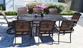 Elisabeth 9 piece cast aluminum patio dining set with Santa Clara dining chairs image 2