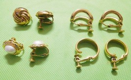 Jewelry Lot 4 NAPIER Signed Gold Tone Clip On/Screw On Earrings Vint (K) - $40.99