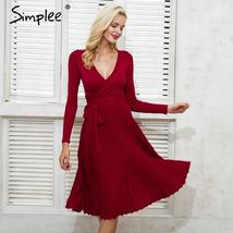 Simplee Vintage ruffle autumn winter dress women Bow sash sexy dress Dee... - $24.95