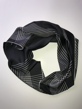 Banana Republic Large Square Silk Scarf Black with White stripes - $58.00