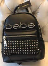 BWT Bebe Mini Backpack Black Gold Studded Diamond Sequined Front gold zi... - $52.79