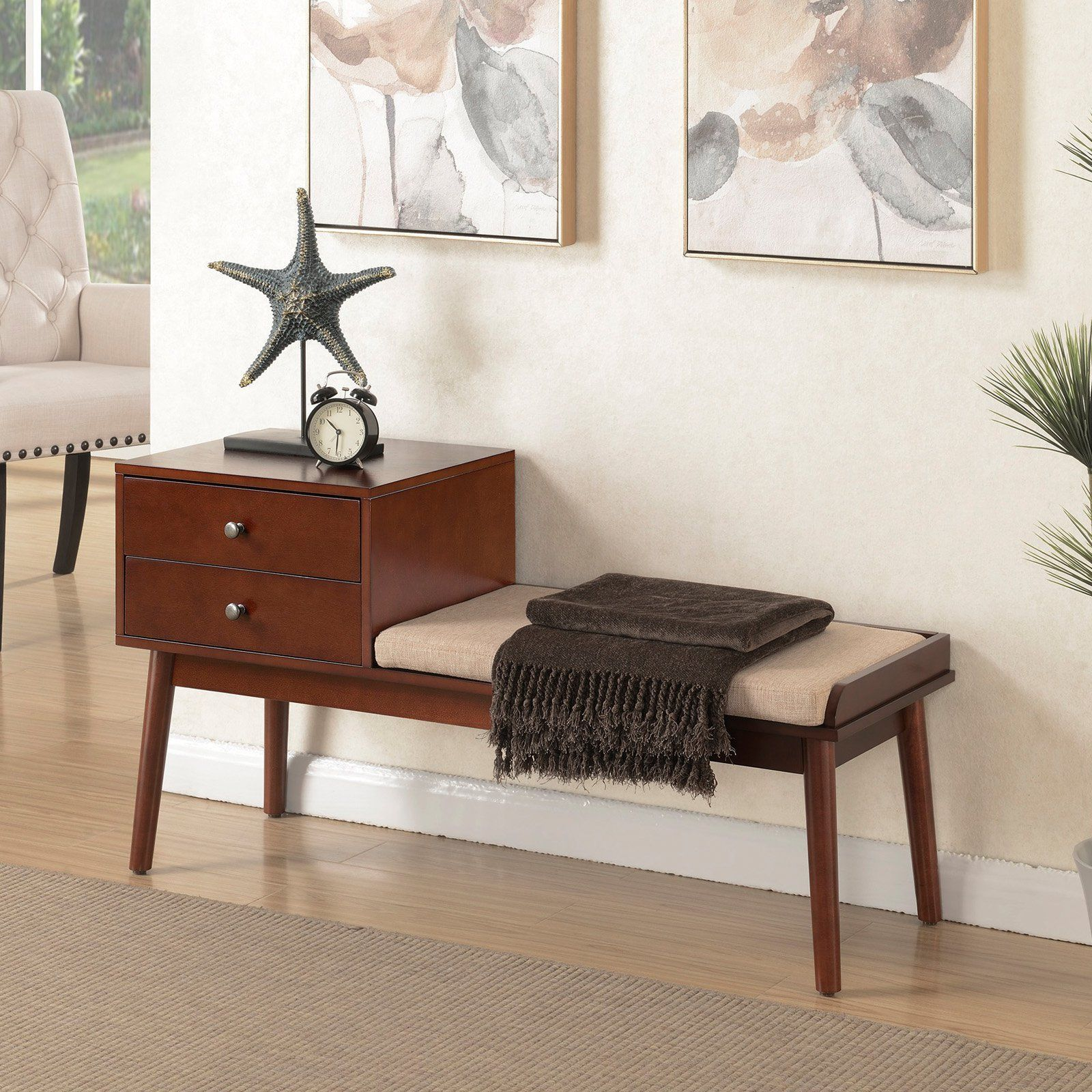 Modern Entryway Benches: Mid Century Modern Wood Entryway Bench With Storage