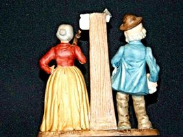Man and Woman Figurine with God Bless Our Home AA19-1652 Vintage image 7