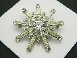 Clear Rhinestone Glass Large Starburst Silver Tone Vintage Pin Brooch - $24.74