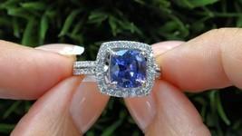 3Ct Cushion-Cut Blue Sapphire Diamond Halo Engagement Ring 14k White Gol... - $87.75