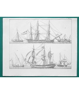SHIPS Frigate Merchant Dutch Cutter Felucca Brigantine - 1828 Antique Print - $24.30