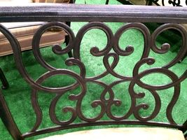 Patio sofa outdoor circular bench cast aluminum Santa Anita half moon seating image 4
