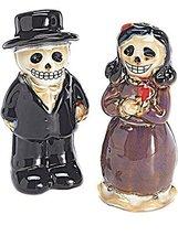 Halloween Table Decor Skeleton Couple Ceramic Salt & Pepper Shakers - $15.79