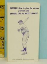 1962 Mickey Mantle Baseball Batting Tips Alvarn Co. Newton Center, MA. - $39.55