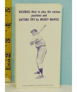 1962 Mickey Mantle Baseball Batting Tips Alvarn Co. Newton Center, MA. - $39.55
