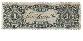 E. T. Hazeltine 4c U.S. Internal Revenue RS103b Private Die, Proprietary... - $32.50