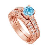 Blue Topaz Engagement Ring Set 14K Rose Gold 1.26 Carat Wedding Ring Sets, - $1,487.50