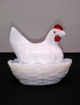 Westmoreland White Milk Glass Miniature Hen On Nest Salt Dip Dish - $9.95