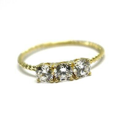 SOLID 18K YELLOW GOLD RING, TRILOGY CUBIC ZIRCONIA 1.2ct WIRE ROUND BRAID TUBE