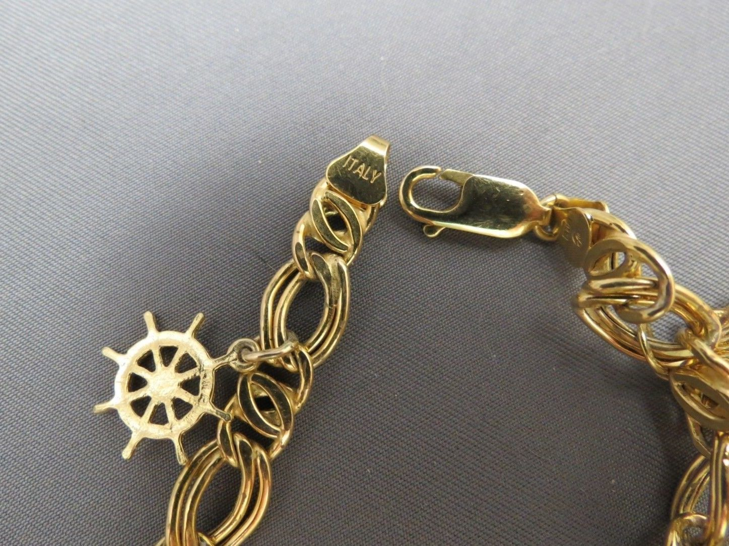 14k Charm Bracelet Yellow Gold 13.7g Marked Italy Chain Nautical Diamond Accent