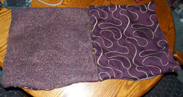Pair of Purple Gold Satin Print Decorative Throw Pillows  18 x 18 - $49.95