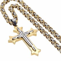 Men's Stainless Steel Cross Pendant Necklace Byzantine Chain, 22' L - £58.69 GBP