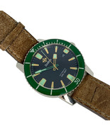 ZODIAC Super Sea Wolf Z09252 Automatic Vintage Watch Green Dial Leather ... - $1,246.20