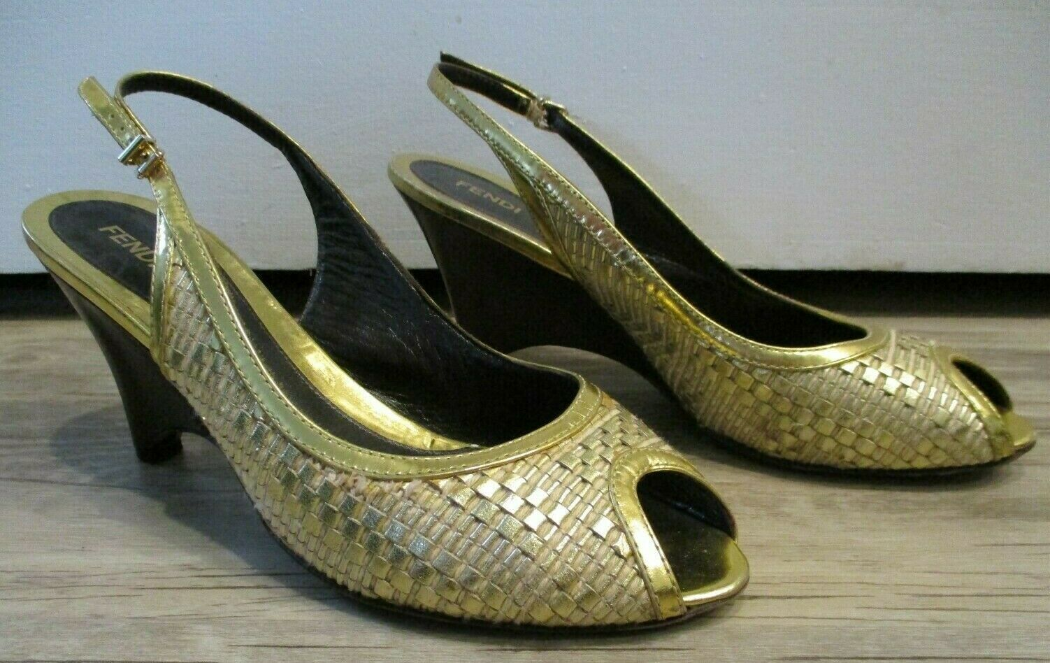 Primary image for FENDI Gold Metallic Woven Slingbacks with Wooden Wedge - Size 41