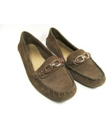 Coach Fortunata Womens Brown Suede Moccasin Loafers With Coach Logo Size US 7.5B - $37.83
