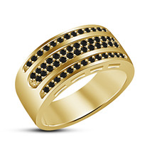 14K Yellow Gold Finish 925 Sterling Silver Black Diamond Mens Wedding Ring Band - £76.26 GBP