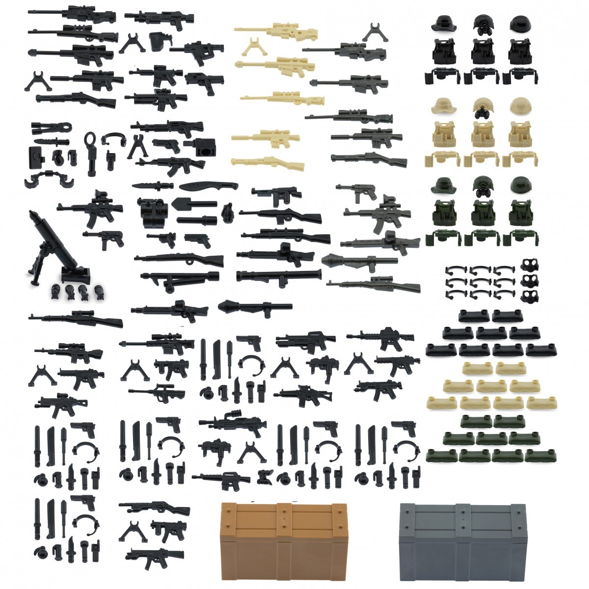 Lego minifigures minifig accessories set a b and modern weapons pack with color packs and crates