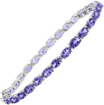 13 ct Natural Tanzanite Tennis Bracelet in Sterling Silver, 7.5' - $1,030.20