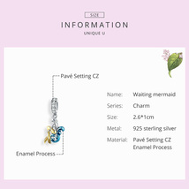 Mermaid Silver Charm Genuine 925 Sterling Silver Pendant Fits Pandora Bracelet image 5