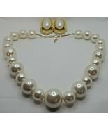 Fashion Jewelry Faux Pearl Plastic Bead Goldtone Necklace & Pierced Earr... - $14.24