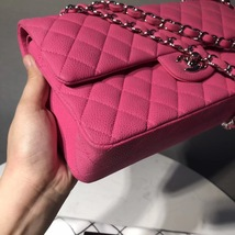 AUTHENTIC CHANEL PINK QUILTED CAVIAR MEDIUM CLASSIC DOUBLE FLAP BAG SHW image 4