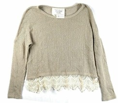 Small Women's California MoonRise Sweater Pullover Knit Lace Trim NEW