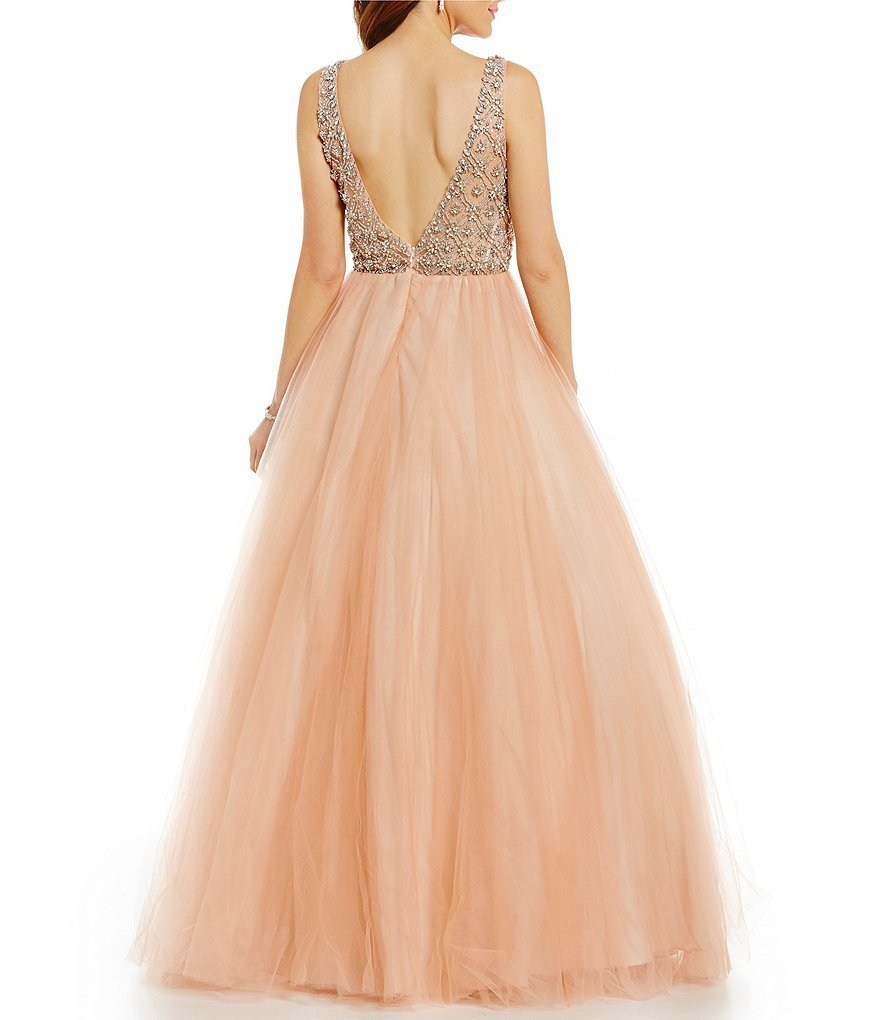 Blush Pink Prom Dress Gown Heavy Beaded Cheap Formal Evening Dress Party Dresses