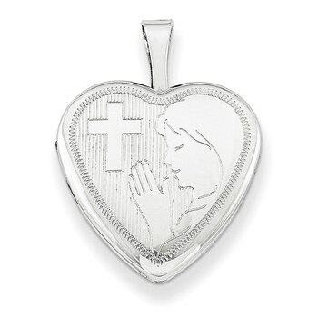 Primary image for Lex & Lu Sterling Silver 16mm Girls Communion Heart Locket 18""